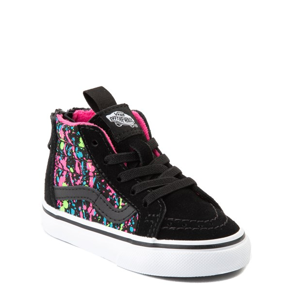 Alternate view of Vans Sk8 Hi Zip Paint Splatter Skate Shoe - Baby / Toddler - Black / Multi