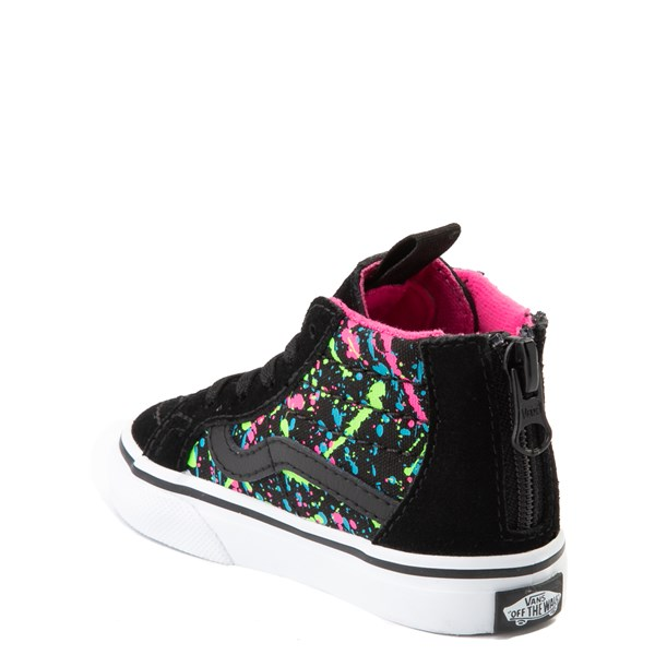 alternate view Vans Sk8 Hi Zip Paint Splatter Skate Shoe - Baby / Toddler - Black / MultiALT2
