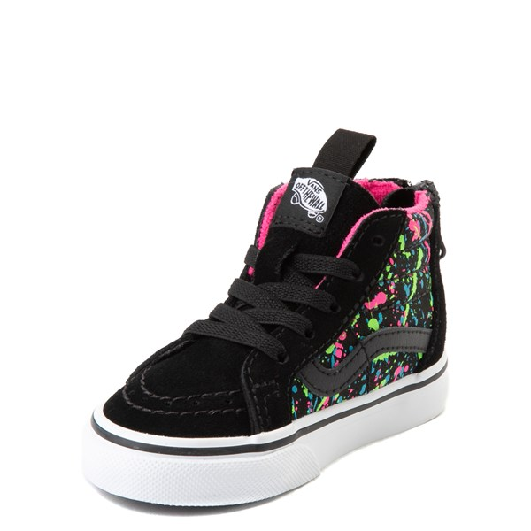 alternate view Vans Sk8 Hi Zip Paint Splatter Skate Shoe - Baby / Toddler - Black / MultiALT3
