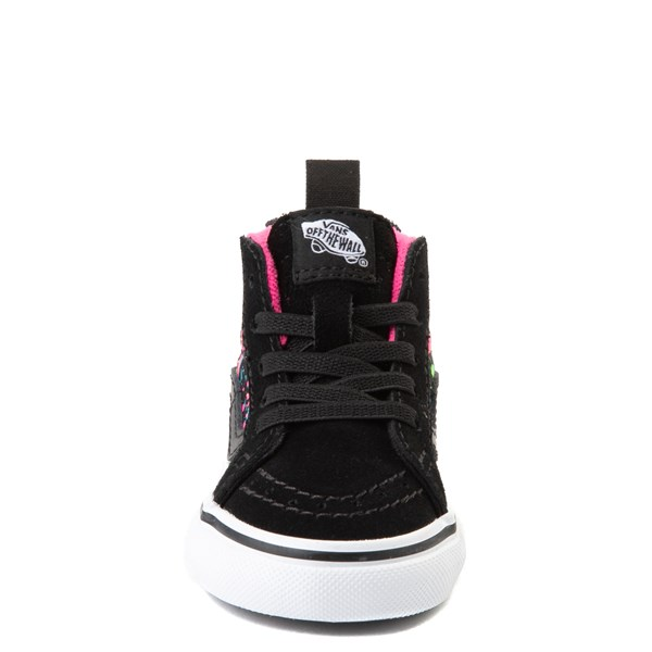 alternate view Vans Sk8 Hi Zip Paint Splatter Skate Shoe - Baby / Toddler - Black / MultiALT4