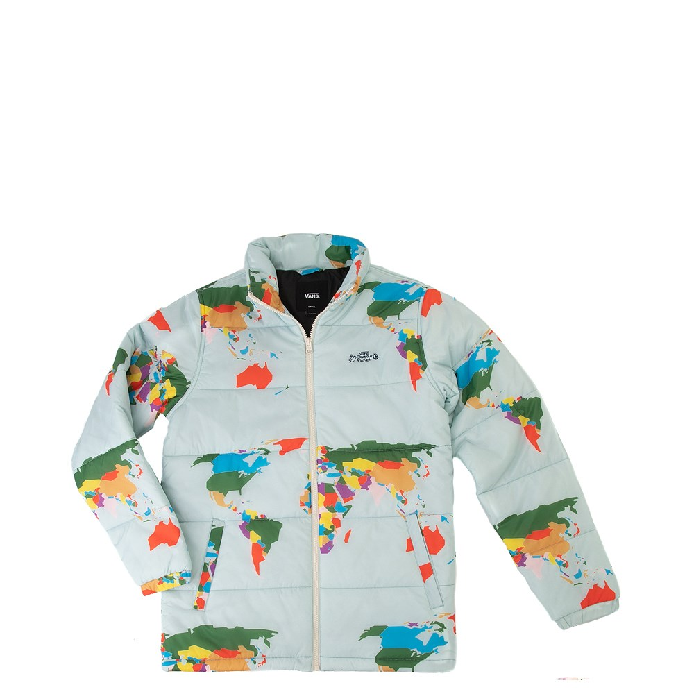 """Mens Vans """"Save Our Planet"""" Puffy Jacket - Light Blue"""