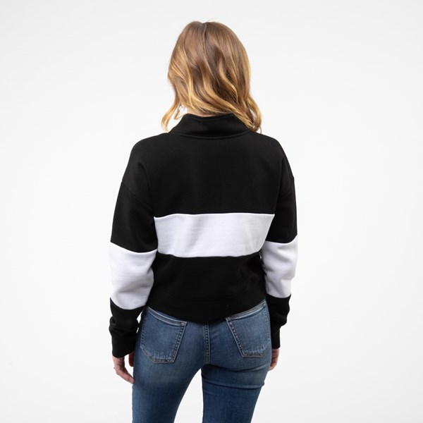 alternate view Womens Vans Color-Block Cropped Sweatshirt - Black / WhiteALT1