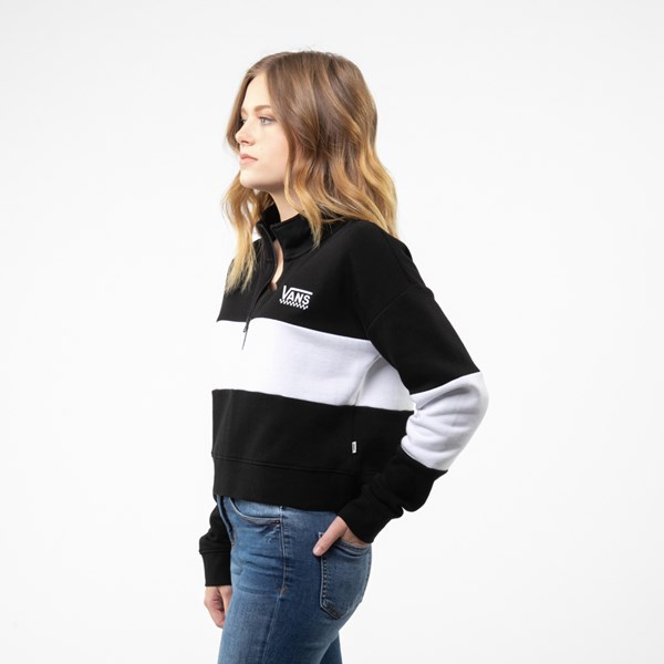 alternate view Womens Vans Color-Block Cropped Sweatshirt - Black / WhiteALT2