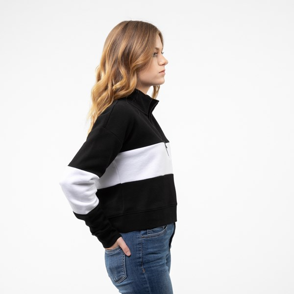 alternate view Womens Vans Color-Block Cropped Sweatshirt - Black / WhiteALT3