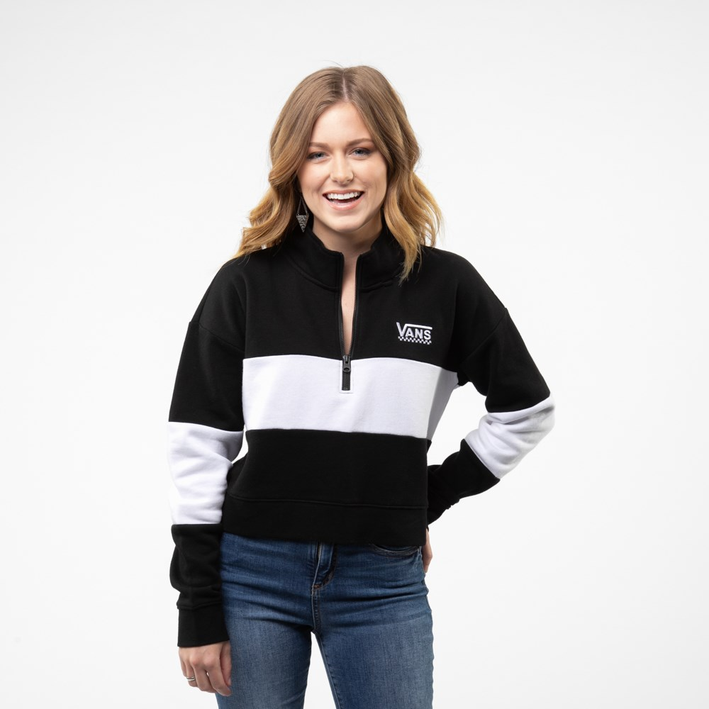 Womens Vans Color-Block Cropped Sweatshirt - Black / White