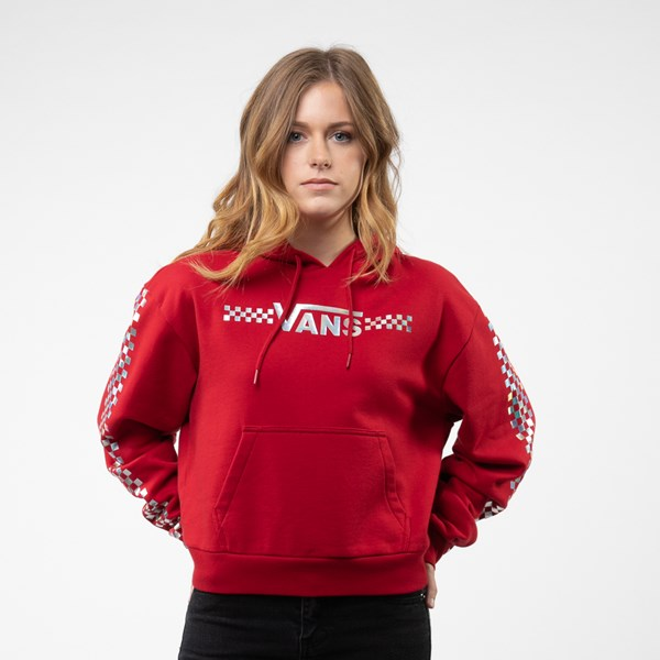 Womens Vans Shine It Cropped Hoodie - Chili Pepper / Iridescent