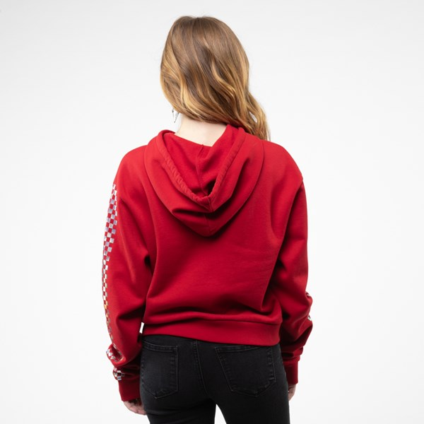 alternate view Womens Vans Shine It Cropped Hoodie - Chili Pepper / IridescentALT1B