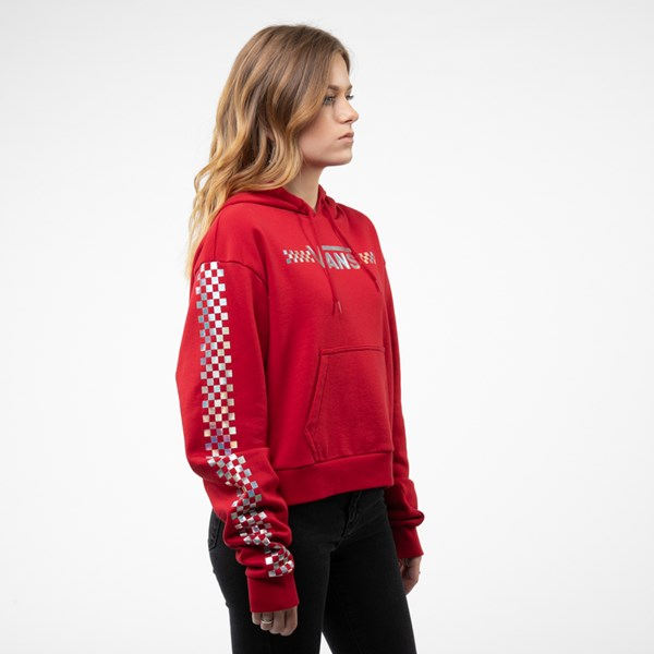 alternate view Womens Vans Shine It Cropped Hoodie - Chili Pepper / IridescentALT3