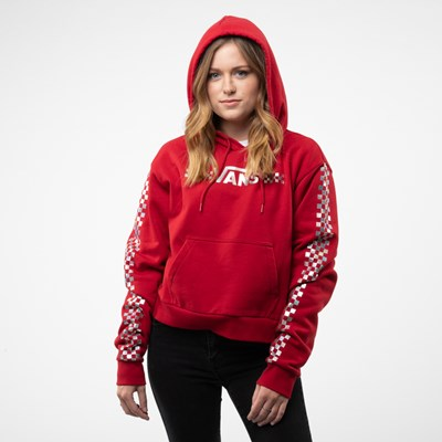 Alternate view of Womens Vans Shine It Cropped Hoodie - Chili Pepper / Iridescent