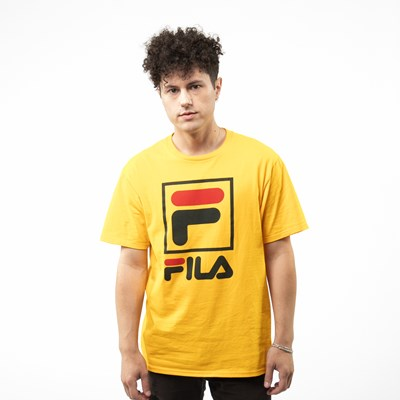 Main view of Mens Fila Stacked Tee - Gold