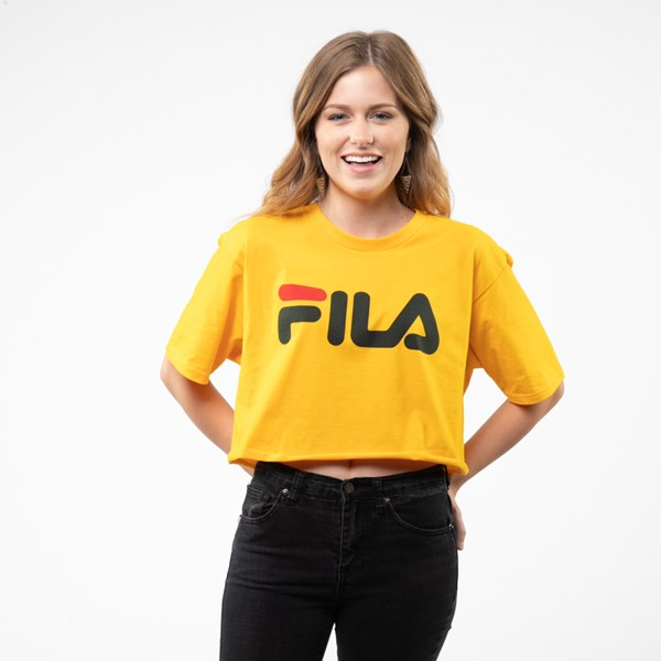 Womens Fila Cropped Tee - Gold