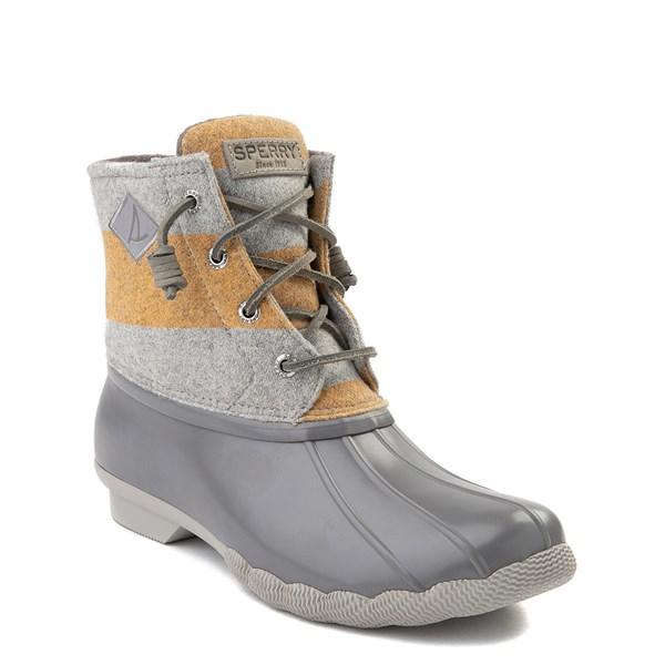 alternate view Womens Sperry Top-Sider Saltwater Varsity Duck Boot - Gray / YellowALT1