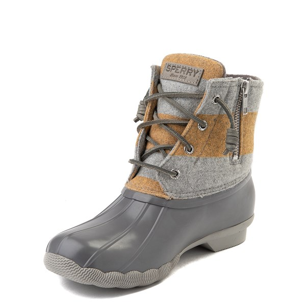 alternate view Womens Sperry Top-Sider Saltwater Varsity Duck Boot - Gray / YellowALT3