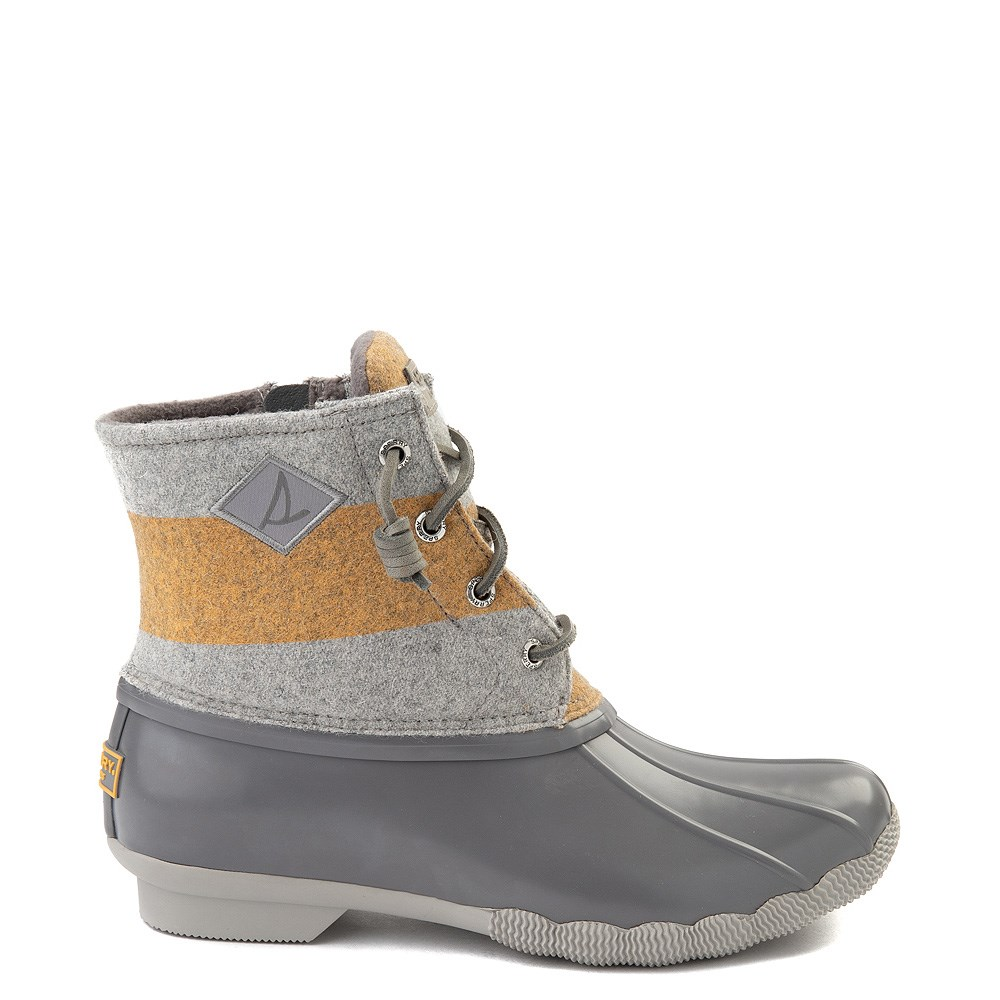 Womens Sperry Top-Sider Saltwater Varsity Duck Boot - Gray / Yellow