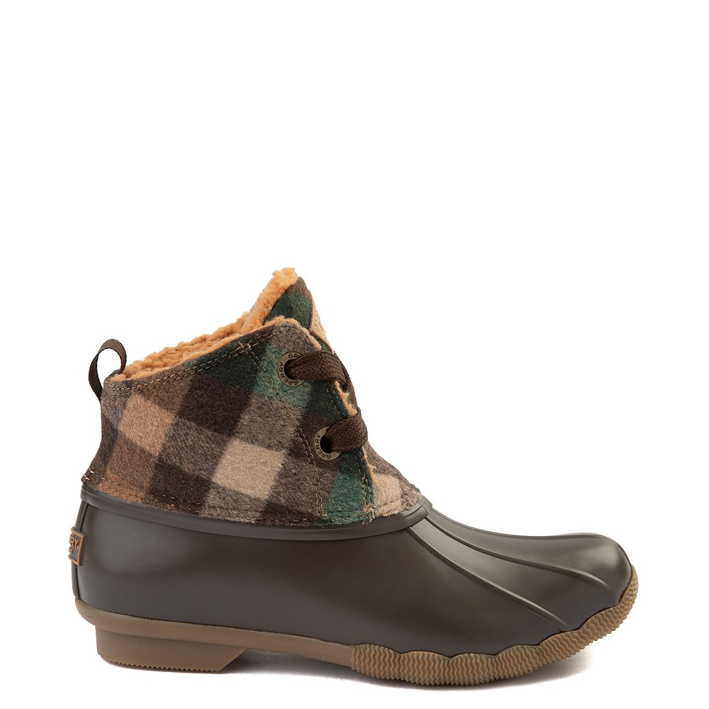 Womens Sperry Top-Sider Saltwater 2-Eye Boot - Brown Plaid