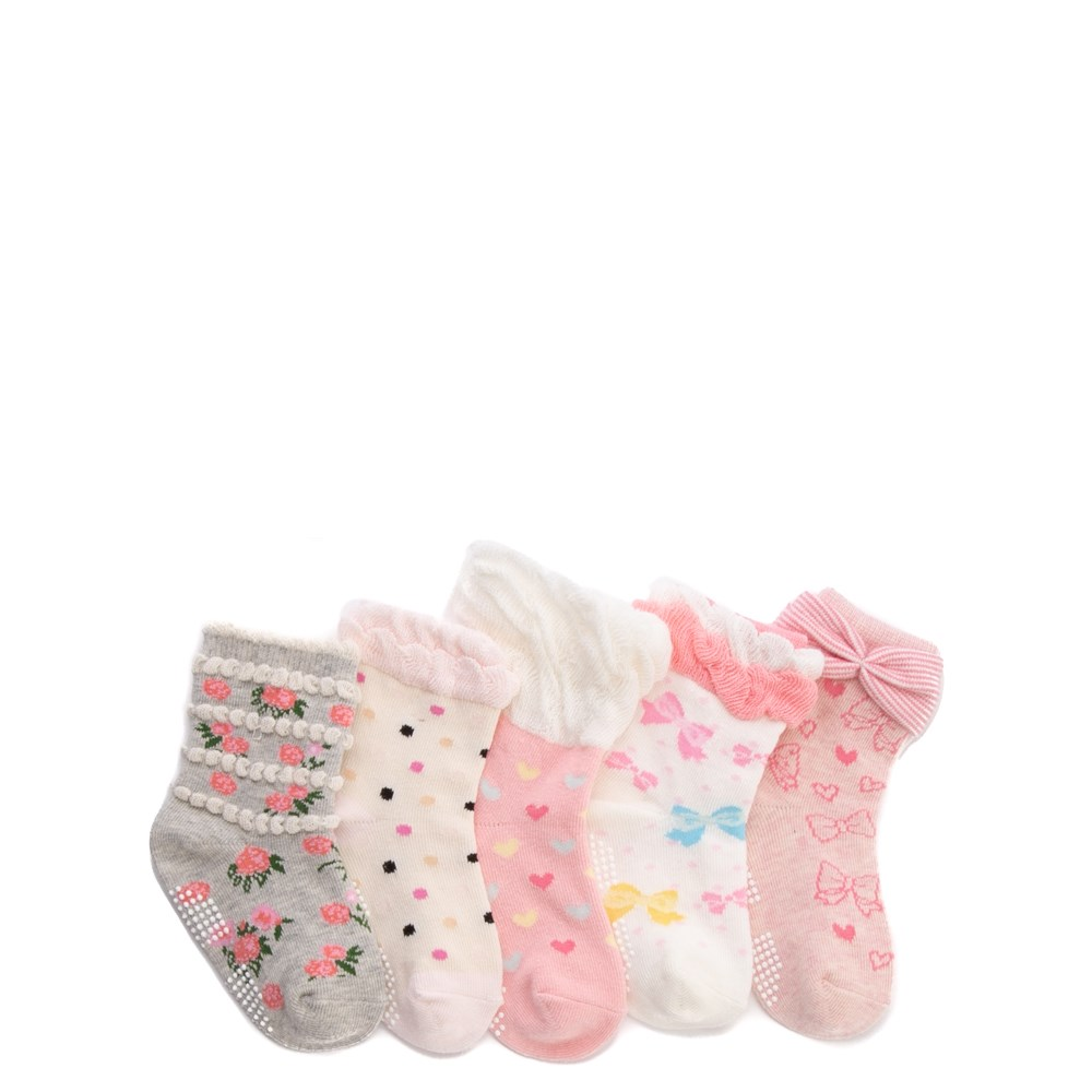 Ruffle Ruche Crew Socks 5 Pack - Girls Toddler