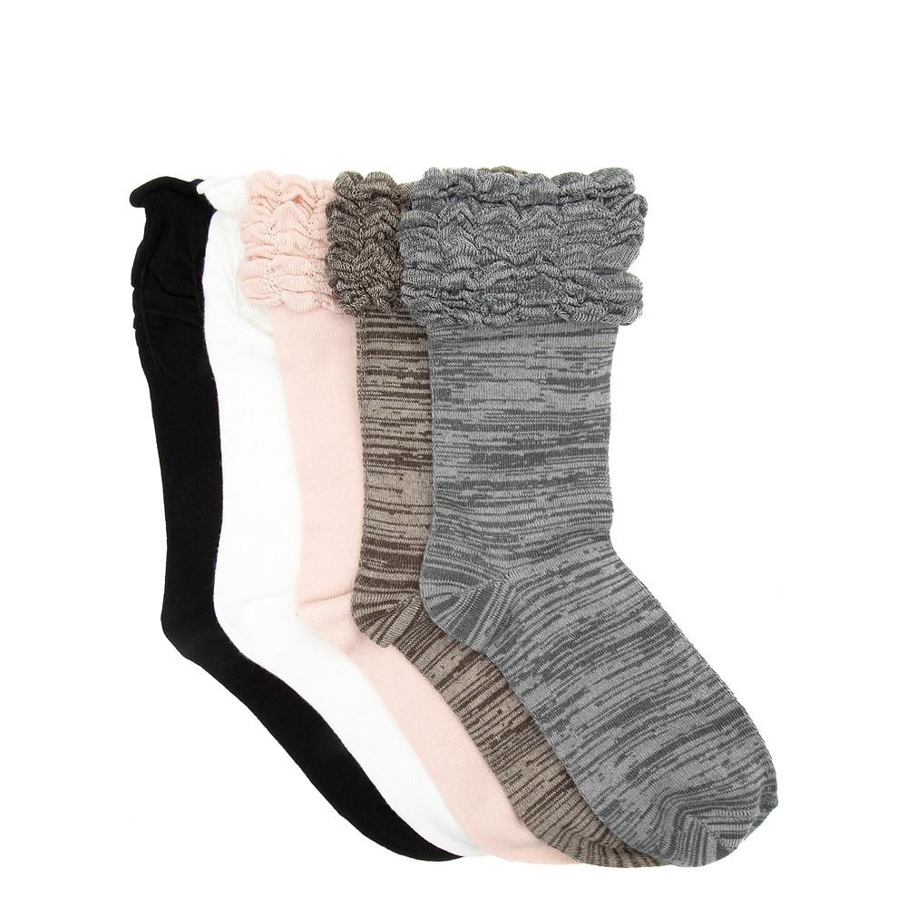 Womens Ruffle Ruche Crew Socks 5 Pack