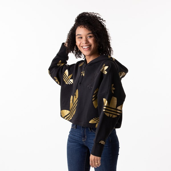 Womens adidas Big Trefoil Cropped Hoodie - Black / Gold