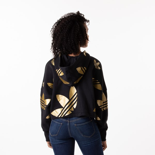 alternate view Womens adidas Big Trefoil Cropped Hoodie - Black / GoldALT2