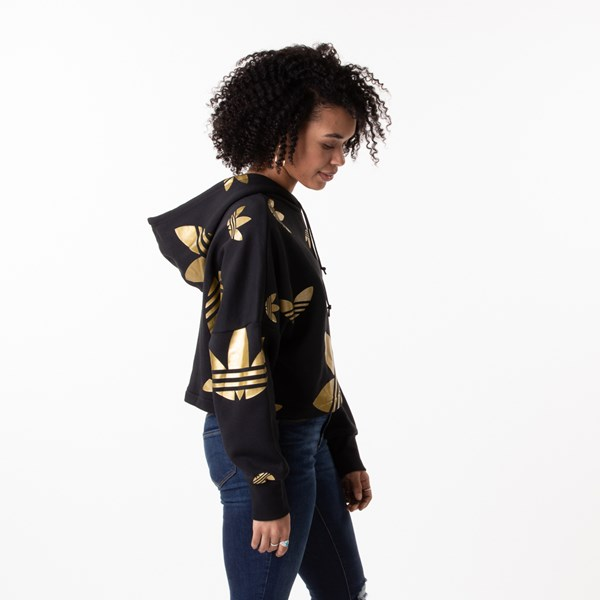 alternate view Womens adidas Big Trefoil Cropped Hoodie - Black / GoldALT3