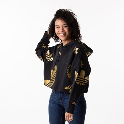 Main view of Womens adidas Big Trefoil Cropped Hoodie - Black / Gold