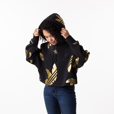 Alternate view of Womens adidas Big Trefoil Cropped Hoodie - Black / Gold
