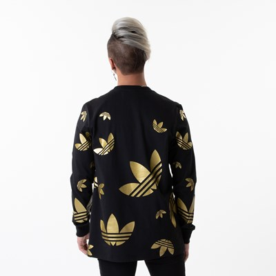Alternate view of Mens adidas Big Trefoil Long Sleeve Tee - Black / Gold