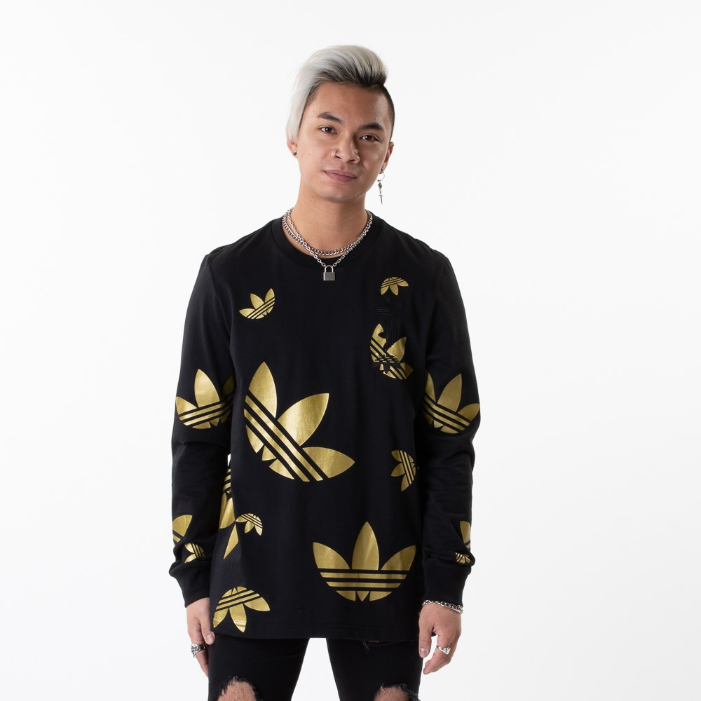 Mens adidas Big Trefoil Long Sleeve Tee - Black / Gold