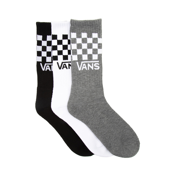 Mens Vans Checkered Crew Socks 3 Pack - Black / White / Gray