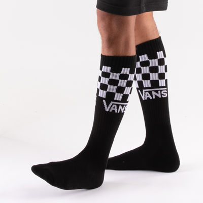 Alternate view of Mens Vans Checkered Crew Socks 3 Pack - Black / White / Gray