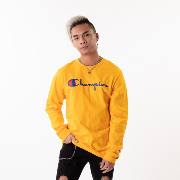 Main view of Mens Champion Heritage Long Sleeve Tee - Gold