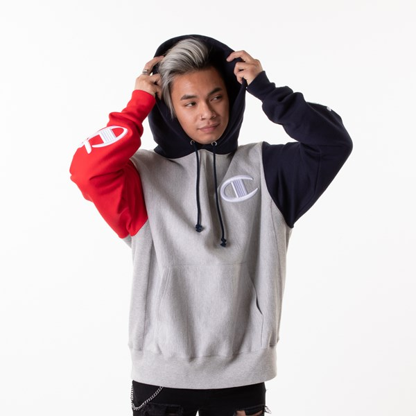 alternate view Mens Champion Reverse Weave Color-Block Hoodie - Gray / Black / RedALT1