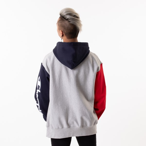 alternate view Mens Champion Reverse Weave Color-Block Hoodie - Gray / Black / RedALT2