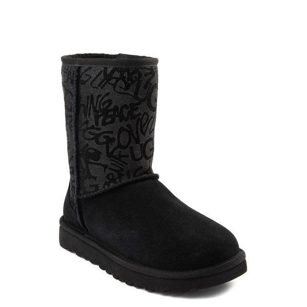 alternate view Womens UGG® Classic Short Graffiti Boot - BlackALT1