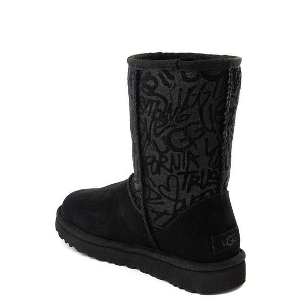 alternate view Womens UGG® Classic Short Graffiti Boot - BlackALT2