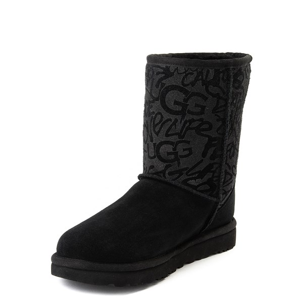 alternate view Womens UGG® Classic Short Graffiti Boot - BlackALT3