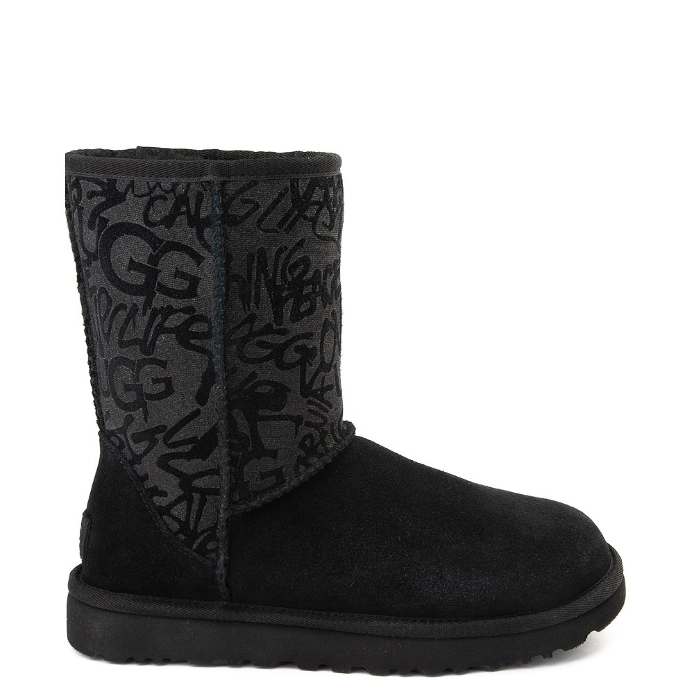 Womens UGG® Classic Short Graffiti Boot - Black