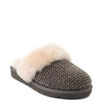 Alternate view of Womens UGG® Cozy Knit Slipper - Charcoal