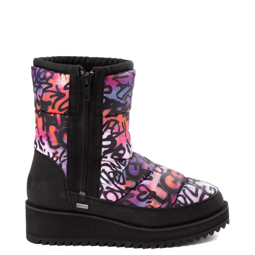 Womens UGG® Ridge Graffiti Pop Platform Boot - Black / Multi