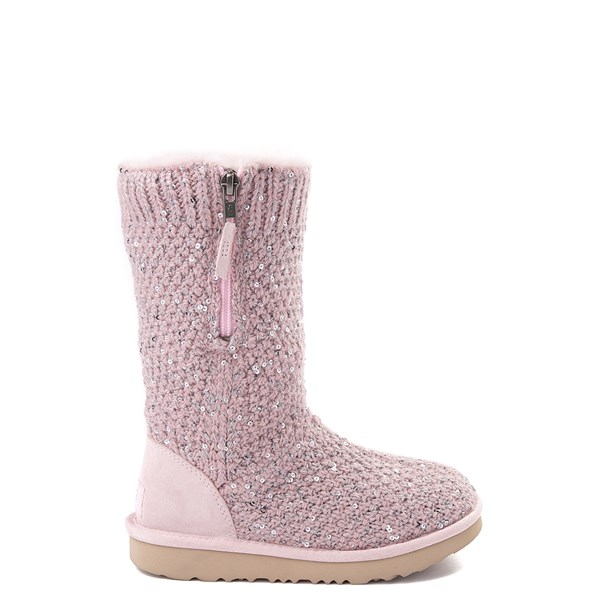 Default view of UGG® Knit Sequin Boot - Little Kid / Big Kid - Pink Crystal