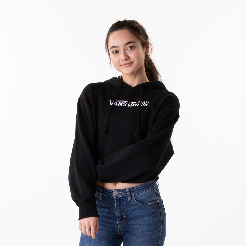 Womens Vans Strait Out Turvy Cropped Hoodie - Black