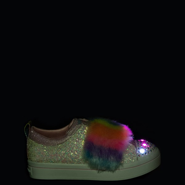 alternate view Skechers Twinkle Toes Twi-Lites Ooh La Fur Sneaker - Little Kid - White / MultiALT1