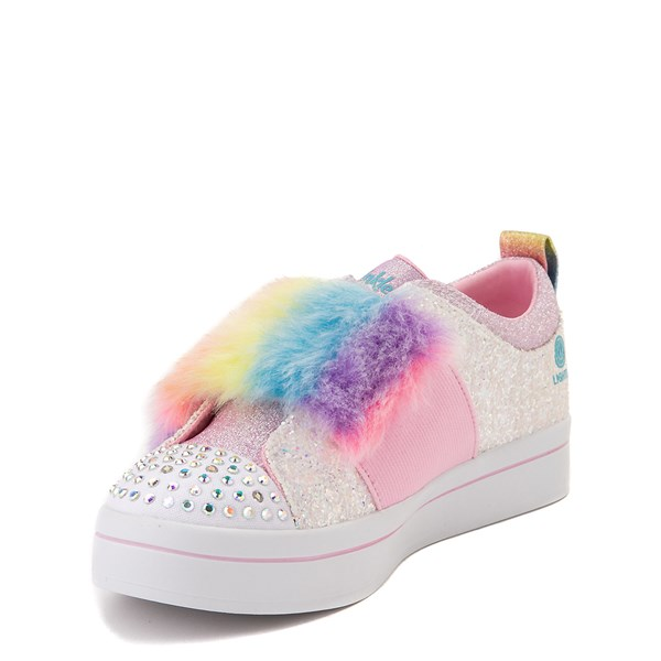 alternate view Skechers Twinkle Toes Twi-Lites Ooh La Fur Sneaker - Little Kid - White / MultiALT3