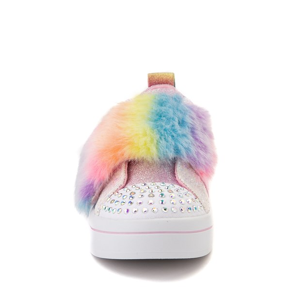 alternate view Skechers Twinkle Toes Twi-Lites Ooh La Fur Sneaker - Little Kid - White / MultiALT4