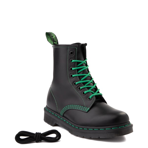 alternate view Dr. Martens 1460 Contrast Stitch 8-Eye Boot - Black / GreenALT1