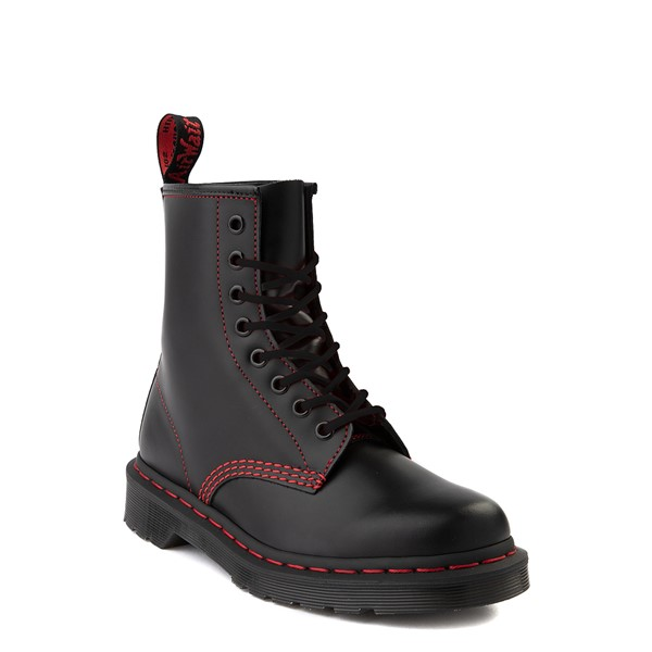 alternate view Dr. Martens 1460 Contrast Stitch 8-Eye Boot - Black / RedALT1