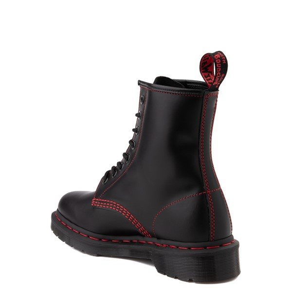 alternate view Dr. Martens 1460 Contrast Stitch 8-Eye Boot - Black / RedALT2