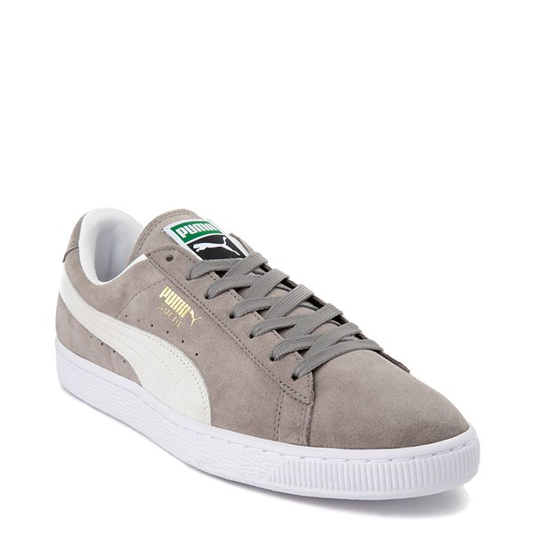 alternate view Mens Puma Suede Athletic Shoe - Gray / WhiteALT1
