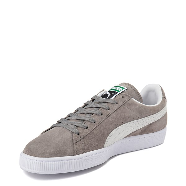 alternate view Mens Puma Suede Athletic Shoe - Gray / WhiteALT3