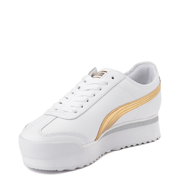 alternate view Womens Puma Roma Amor Platform Athletic Shoe - White / GoldALT3